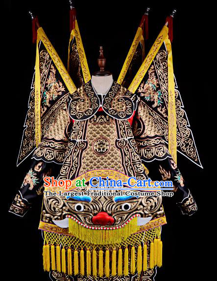 Professional Chinese Beijing Opera Takefu General Black Costume for Adults
