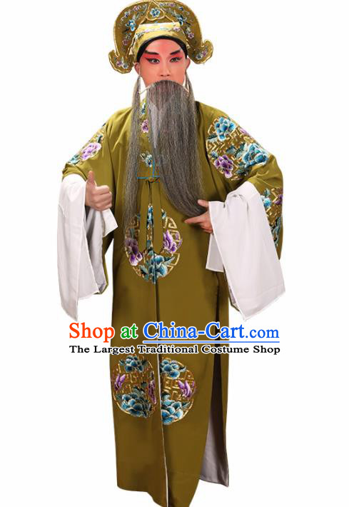 Professional Chinese Beijing Opera Landlord Costume Old Men Green Robe for Adults