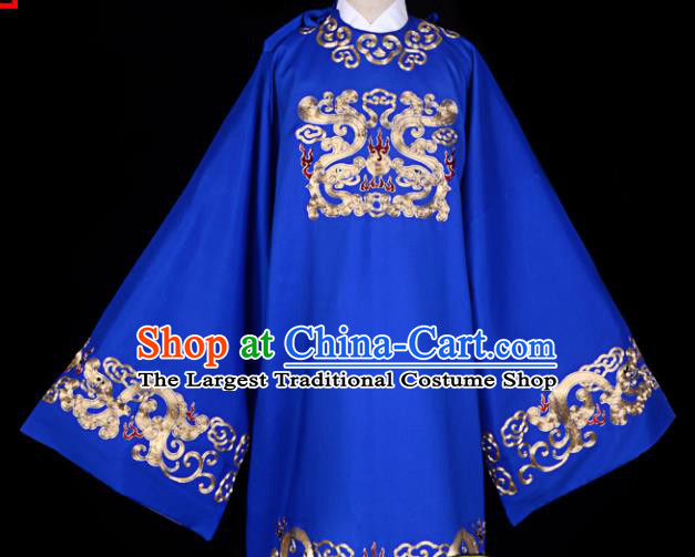 Professional Chinese Beijing Opera Costume Ancient Minister Royalblue Embroidered Robe for Adults
