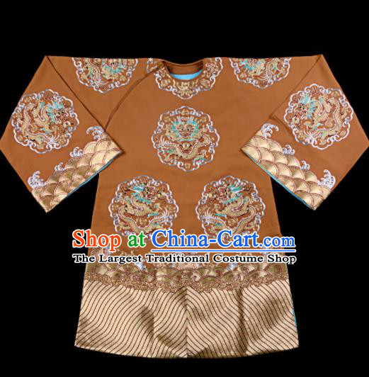 Professional Chinese Traditional Beijing Opera Old Women Embroidered Brown Costume for Adults