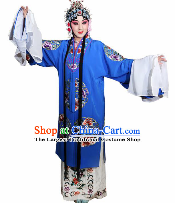 Professional Chinese Traditional Beijing Opera Costume Ancient Princess Embroidered Blue Dress for Adults