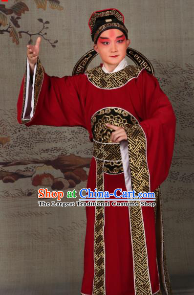Professional Chinese Beijing Opera Costume Ancient Scholar Embroidered Red Robe for Adults