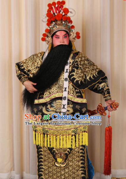 Professional Chinese Beijing Opera Costume Ancient General Black Clothing for Adults