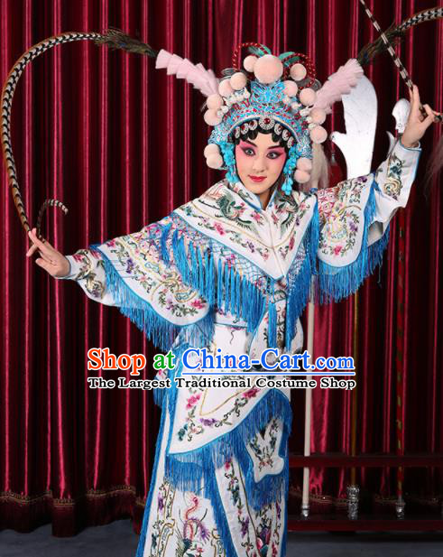 Professional Chinese Traditional Beijing Opera Magic Warriors White Costume for Adults