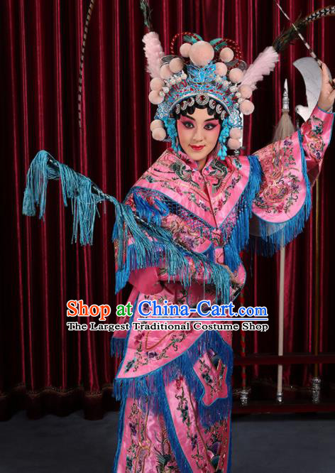 Professional Chinese Traditional Beijing Opera Magic Warriors Pink Costume for Adults