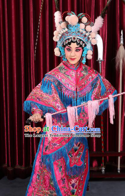 Professional Chinese Traditional Beijing Opera Magic Warriors Rosy Costume for Adults