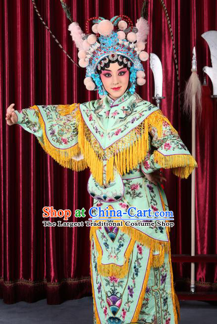 Professional Chinese Traditional Beijing Opera Magic Warriors Light Green Costume for Adults