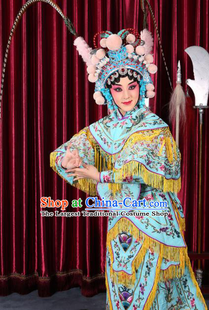 Professional Chinese Traditional Beijing Opera Magic Warriors Light Blue Costume for Adults