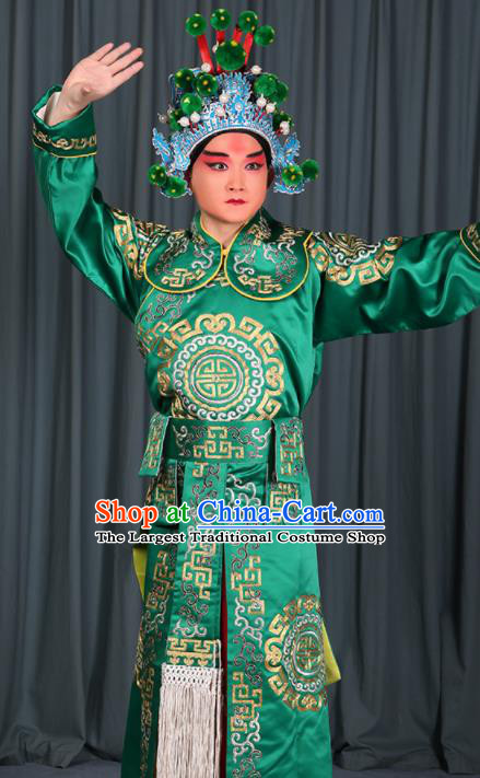 Professional Chinese Beijing Opera Takefu Costume Ancient Swordsman Green Clothing for Adults