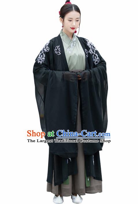 Chinese Ancient Black Hanfu Dress Traditional Jin Dynasty Swordswomen Replica Costume for Women