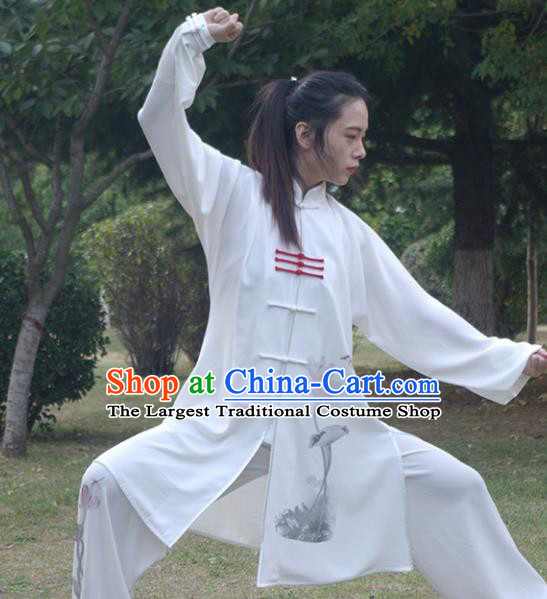 Top Group Kung Fu Costume Martial Arts Gongfu Training Uniform Painting Lotus Tai Ji Clothing for Women