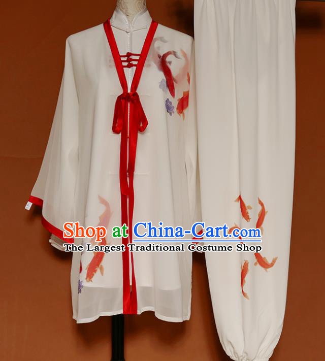 Top Group Kung Fu Costume Martial Arts Gongfu Training Uniform Painting Fishes Tai Ji Clothing for Women