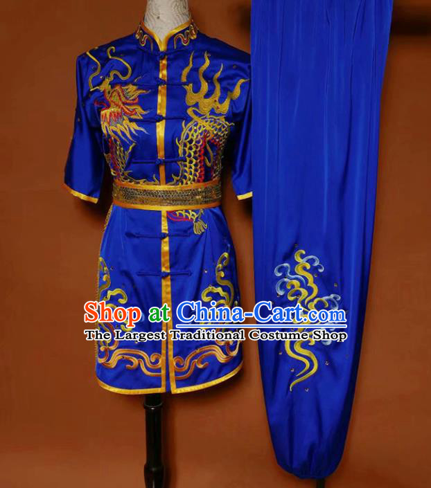 Top Kung Fu Competition Costume Group Martial Arts Gongfu Training Blue Uniform for Men