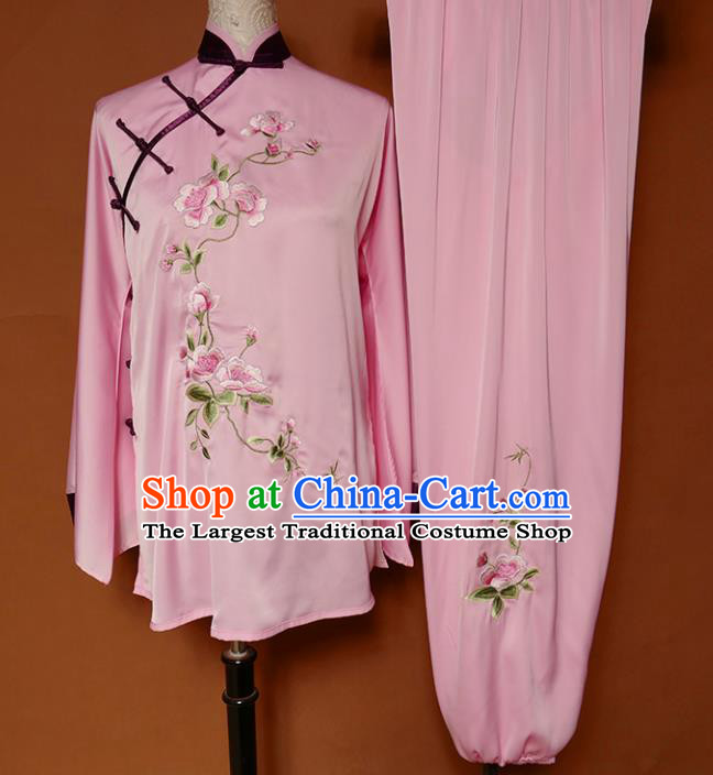 Top Group Kung Fu Costume Martial Arts Training Uniform Tai Ji Embroidered Pink Clothing for Women