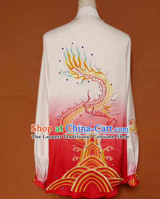 Top Grade Kung Fu Costume Martial Arts Training Tai Ji Embroidered Dragon Red Uniform for Adults