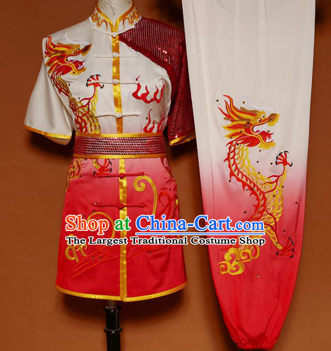 Top Group Kung Fu Costume Martial Arts Gongfu Training Uniform Embroidered Dragon Tai Ji Red Clothing for Women