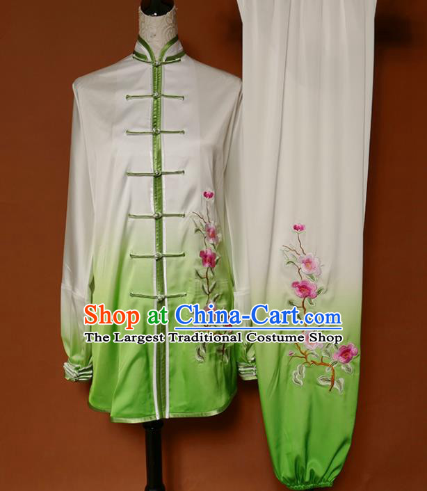 Top Group Kung Fu Costume Martial Arts Training Uniform Tai Ji Embroidered Green Clothing for Women