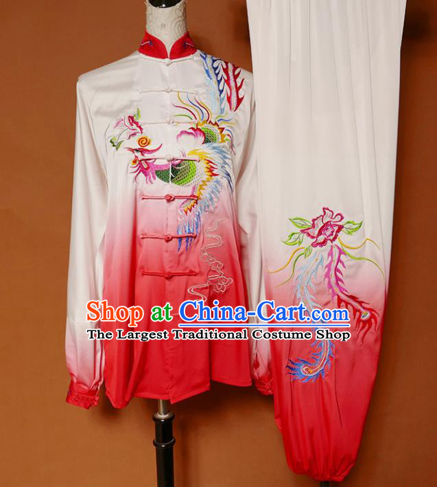 Top Group Kung Fu Costume Tai Ji Training Embroidered Phoenix Red Uniform Clothing for Women
