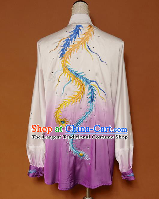 Top Group Kung Fu Costume Tai Ji Training Embroidered Phoenix Purple Uniform Clothing for Women