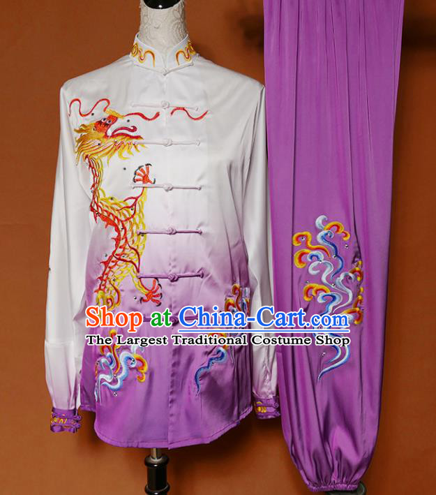 Top Grade Kung Fu Costume Martial Arts Training Tai Ji Embroidered Dragon Purple Uniform for Adults