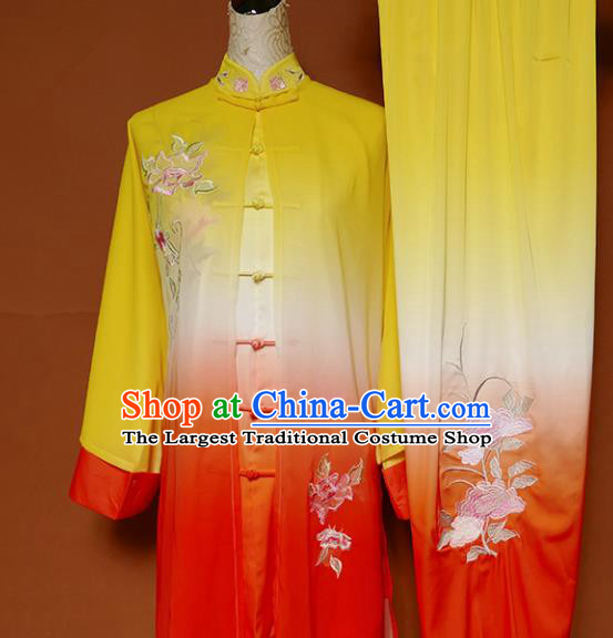 Top Group Kung Fu Costume Tai Ji Training Embroidered Peony Uniform Clothing for Women