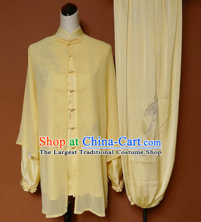 Top Grade Kung Fu Costume Martial Arts Training Tai Ji Embroidered Yellow Uniform for Adults