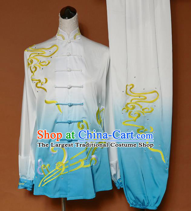 Top Grade Kung Fu Costume Martial Arts Training Tai Ji Embroidered Blue Uniform for Adults