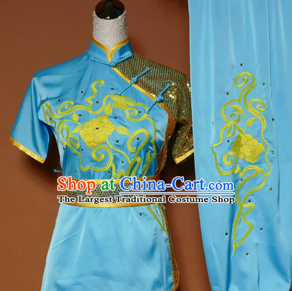 Top Group Kung Fu Costume Tai Ji Training Embroidered Blue Uniform Clothing for Women