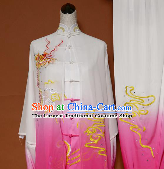 Top Grade Kung Fu Costume Martial Arts Training Tai Ji Embroidered Dragon Pink Uniform for Adults