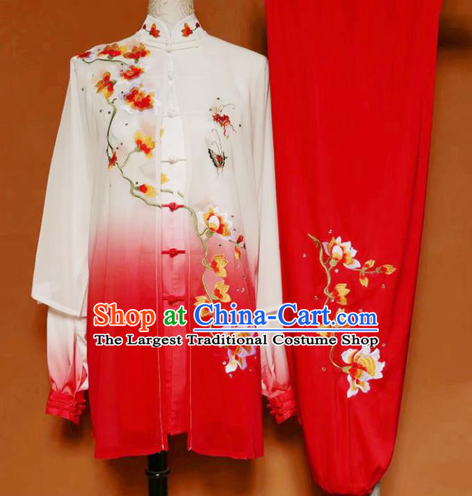 Top Grade Kung Fu Costume Martial Arts Training Tai Ji Embroidered Flowers Red Uniform for Adults
