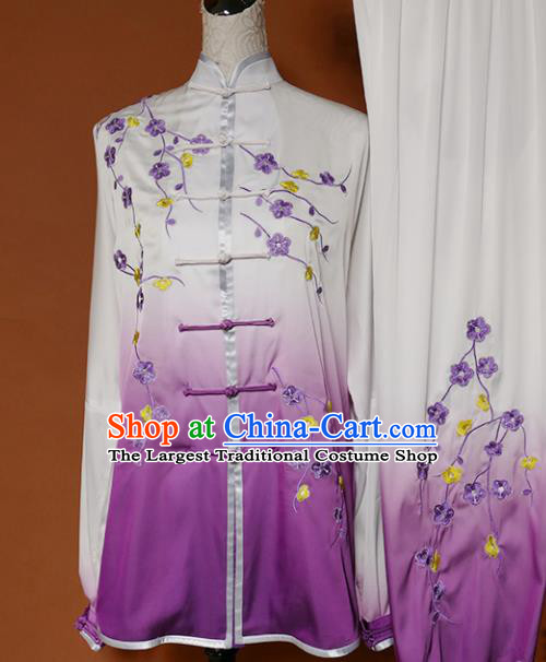 Top Grade Kung Fu Costume Martial Arts Training Tai Ji Embroidered Plum Blossom Purple Uniform for Adults