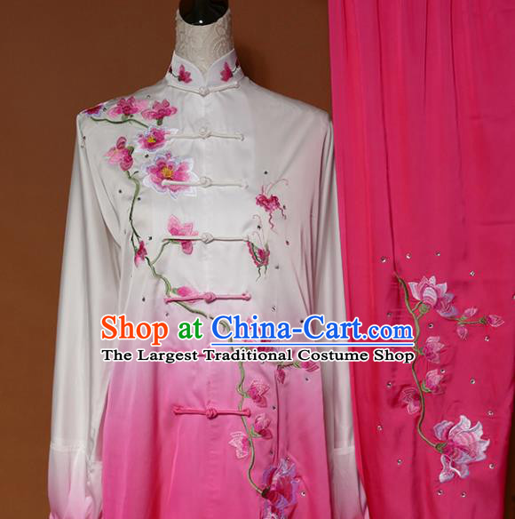 Top Grade Kung Fu Costume Martial Arts Training Tai Ji Embroidered Magnolia Pink Uniform for Adults