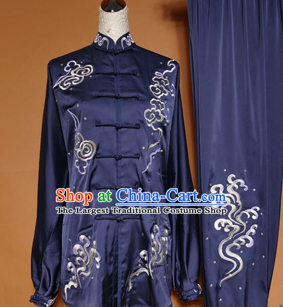 Top Group Kung Fu Costume Martial Arts Gongfu Training Uniform Tai Ji Embroidered Navy Clothing for Women