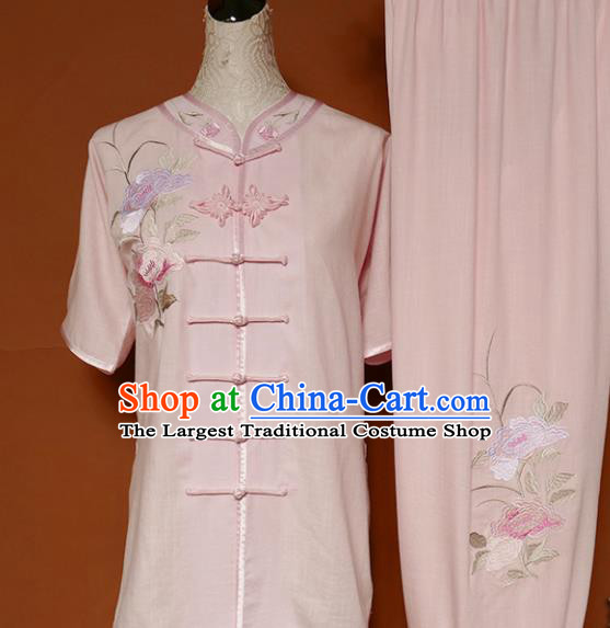 Top Group Kung Fu Costume Tai Ji Training Embroidered Peony Pink Uniform Clothing for Women