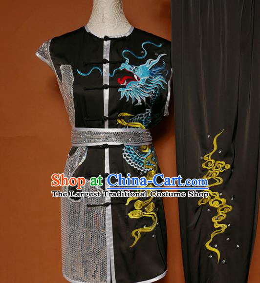 Top Kung Fu Group Competition Costume Martial Arts Wushu Embroidered Dragon Black Uniform for Men