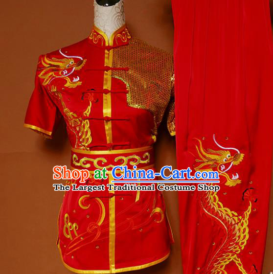 Top Kung Fu Group Competition Costume Martial Arts Wushu Embroidered Dragon Red Uniform for Men