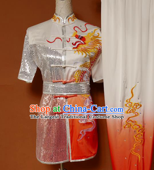 Top Kung Fu Group Competition Costume Martial Arts Wushu Embroidered Dragon Orange Uniform for Men