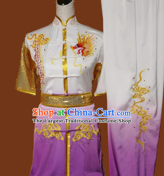 Top Kung Fu Group Competition Costume Martial Arts Wushu Embroidered Dragon Purple Uniform for Men