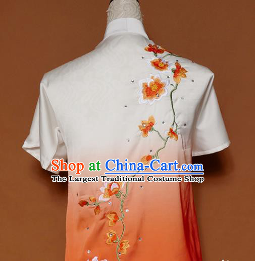 Top Group Kung Fu Costume Tai Ji Training Embroidered Magnolia Orange Uniform Clothing for Women