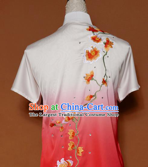 Top Group Kung Fu Costume Tai Ji Training Embroidered Magnolia Pink Uniform Clothing for Women