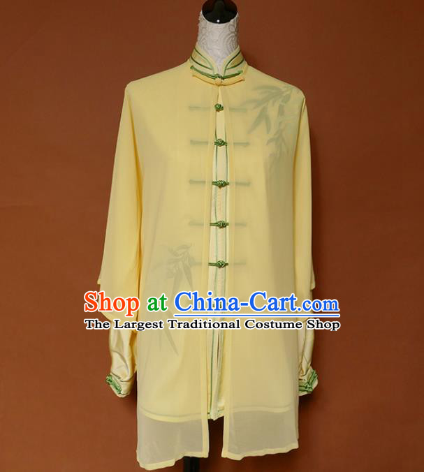 Top Group Kung Fu Costume Tai Ji Training Embroidered Bamboo Yellow Uniform Clothing for Women