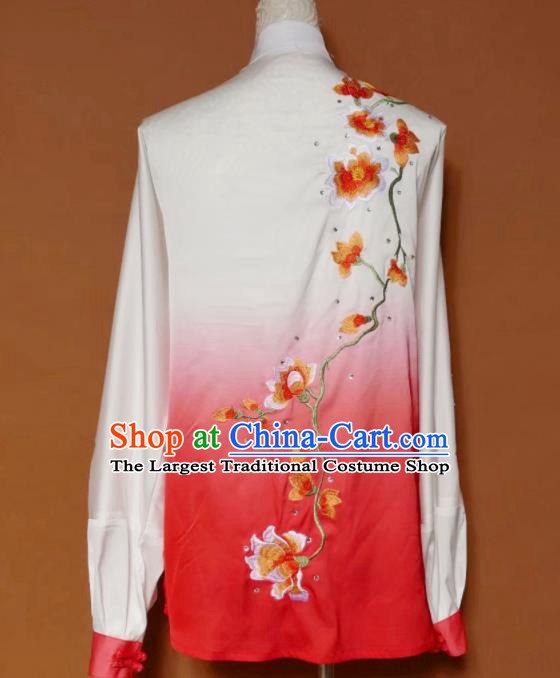 Top Group Kung Fu Costume Tai Ji Training Embroidered Magnolia Red Uniform Clothing for Women