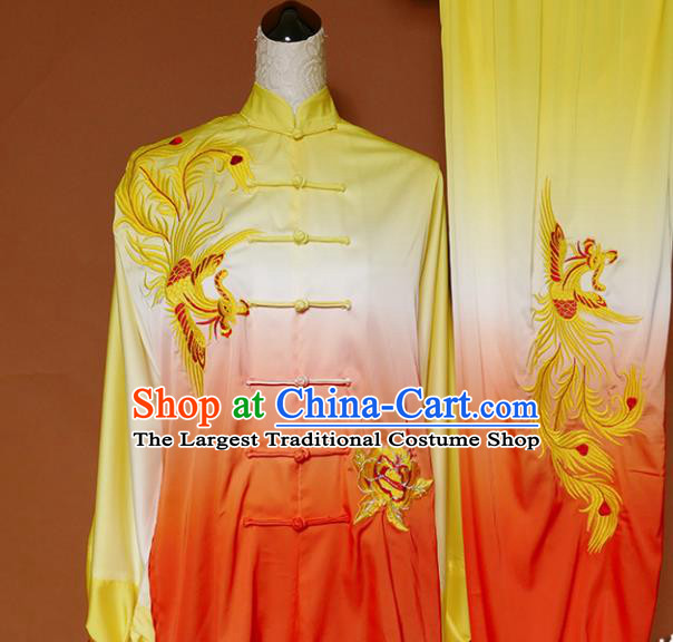 Top Group Kung Fu Costume Tai Ji Training Embroidered Phoenix Orange Uniform Clothing for Women