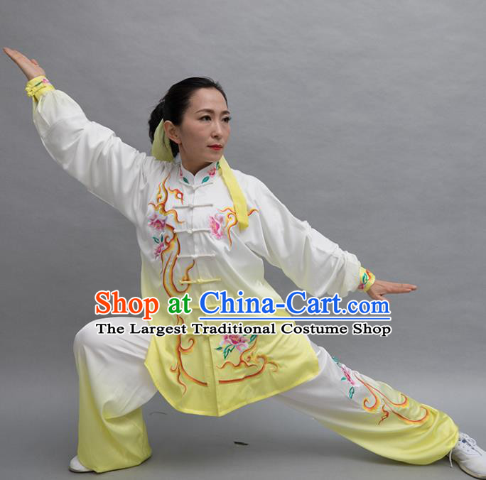 Top Group Kung Fu Costume Tai Ji Training Embroidered Peony Yellow Uniform Clothing for Women