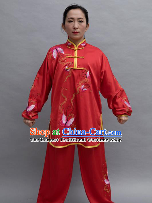 Top Group Kung Fu Costume Tai Ji Training Embroidered Butterfly Red Uniform Clothing for Women