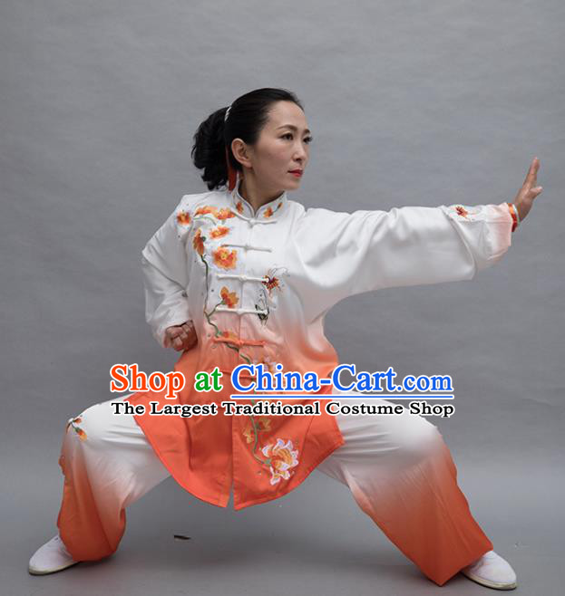 Top Tai Ji Training Embroidered Orange Uniform Kung Fu Group Competition Costume for Women