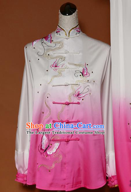 Top Group Kung Fu Costume Tai Ji Training Embroidered Butterfly Pink Uniform Clothing for Women