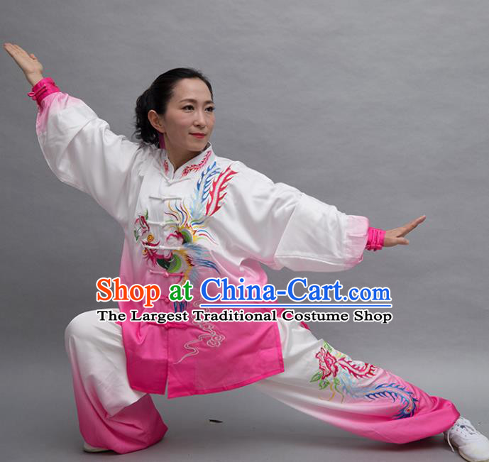 Top Tai Ji Training Embroidered Phoenix Pink Uniform Kung Fu Group Competition Costume for Women
