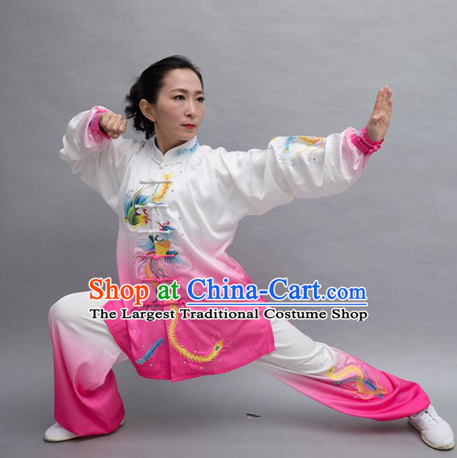 Top Tai Ji Training Embroidered Phoenix Rosy Uniform Kung Fu Group Competition Costume for Women