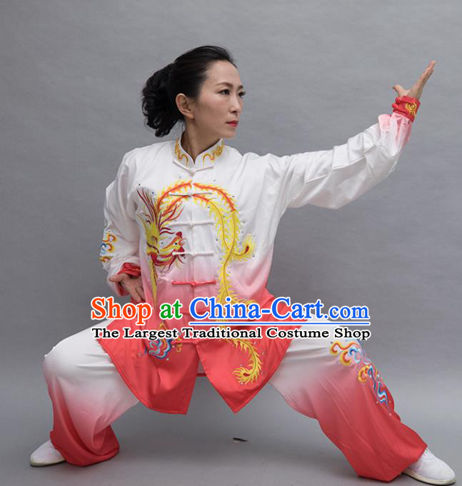Top Tai Ji Training Embroidered Phoenix Orange Uniform Kung Fu Group Competition Costume for Women